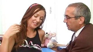 Babe is letting her aged teacher taste her fur pie