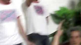Anita Peida giving head in blowbang to white cocks