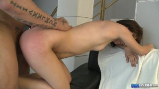 Hot brunette Candela Moon doggyfucked by an old guy