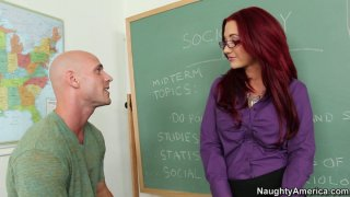 Sexy redhead teacher Jayden Jaymes gets seduced for a quickie