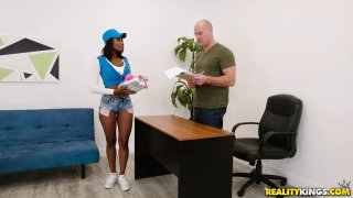 Bubble butt ebony chick takes her shorts off and teases